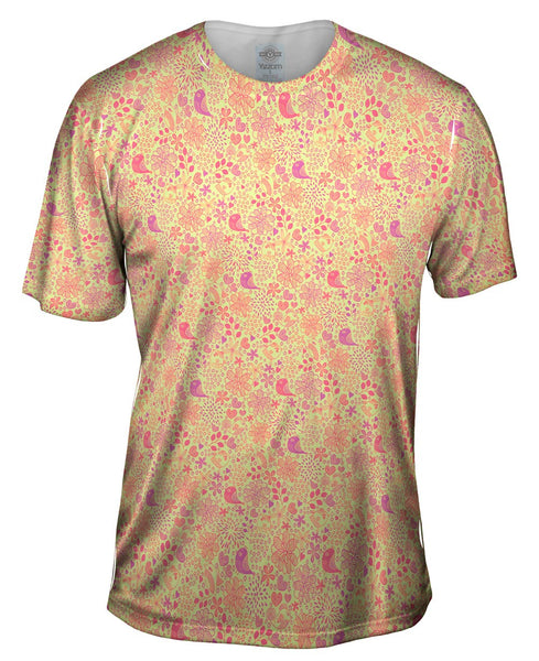 Tribal Birds And The Trees Pink Purple Mens T-Shirt