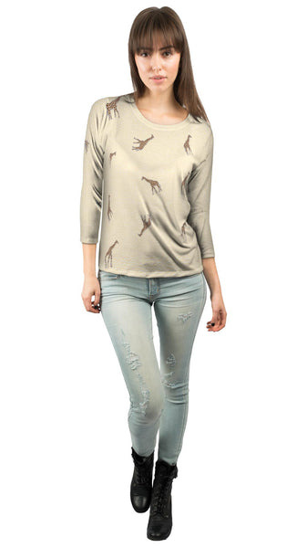 Acrobatic Giraffe Pattern Womens 3/4 Sleeve