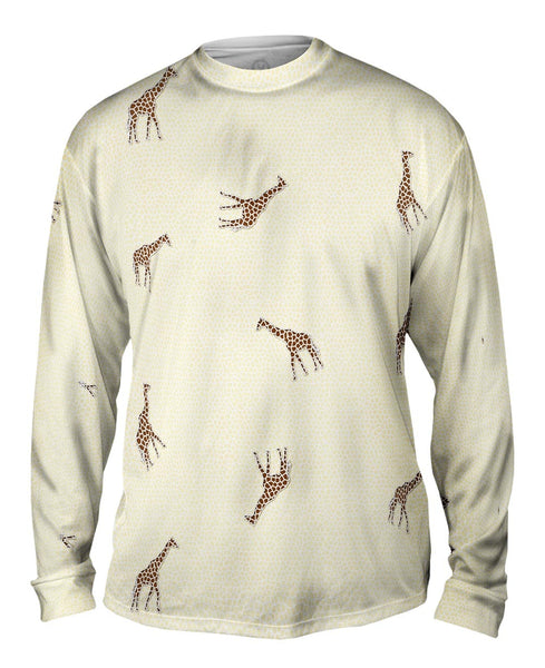 Acrobatic Giraffe Pattern Mens Long Sleeve