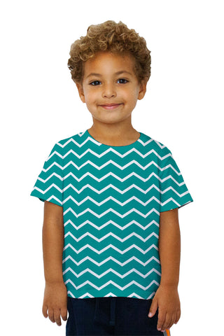 Kids Chevron Turquoise White Reversed