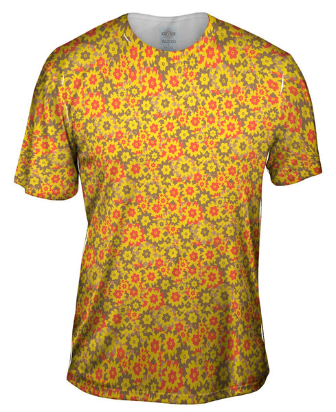 Flower Yellow Red Brown Mens T-Shirt