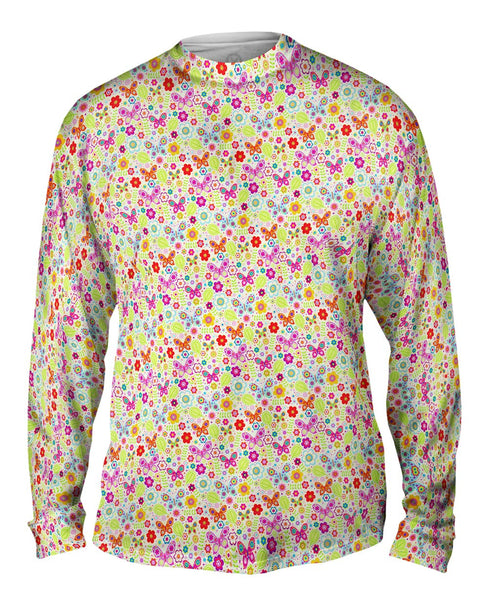 Butterfly Blossom Spring Red Mens Long Sleeve