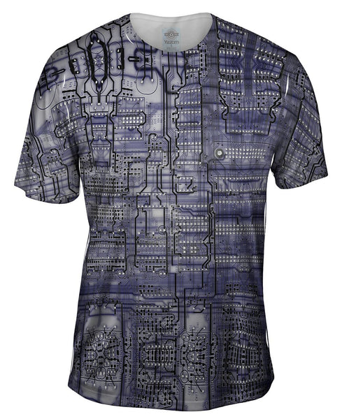 Circuit Board Purple Mens T-Shirt