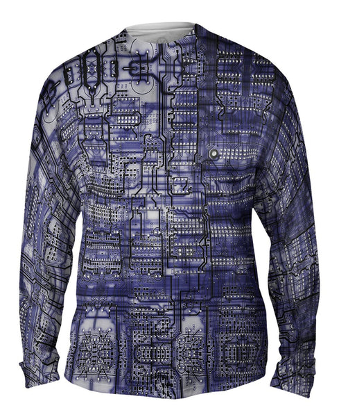 Circuit Board Purple Mens Long Sleeve