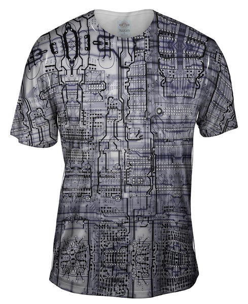 Circuit Board Black And White Mens T-Shirt