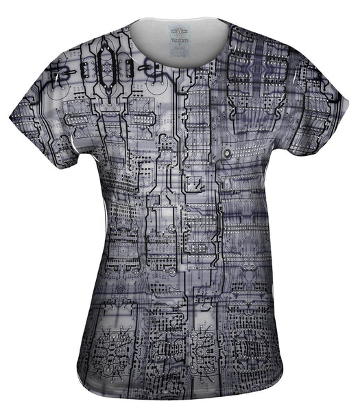Circuit Board Black And White Womens Top