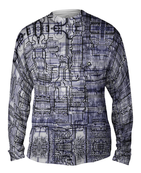 Circuit Board Black And White Mens Long Sleeve