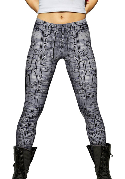 Circuit Board Black And White Womens Leggings