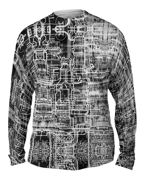 Circuit Board White Mens Long Sleeve