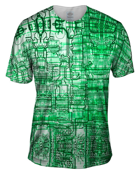 Circuit Board Green Mens T-Shirt