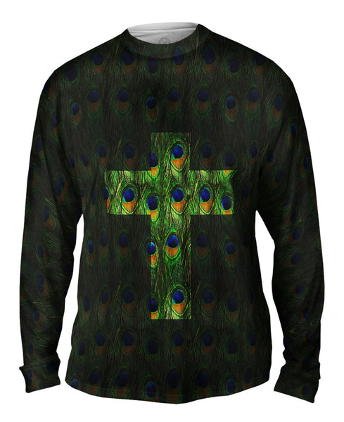 Cross Peacock Animal Skin Mens Long Sleeve