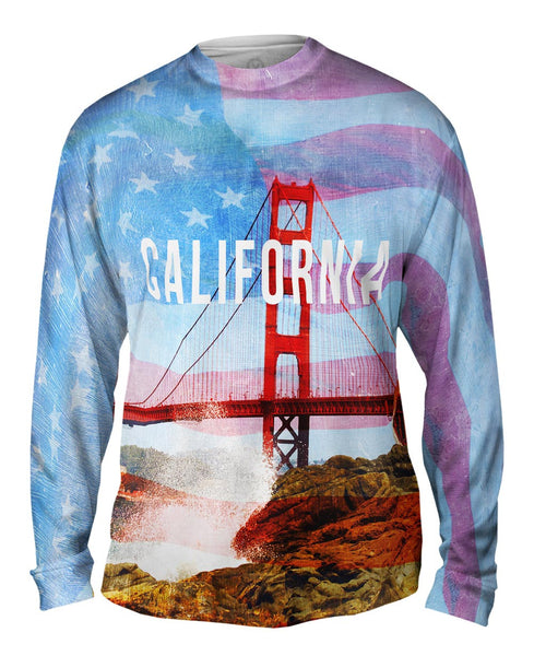 California Pride Golden Gate Bridge Mens Long Sleeve