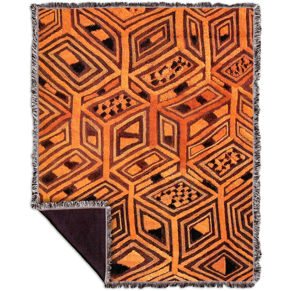 African Tribal Kuba Cloth Woven Tapestry Throw