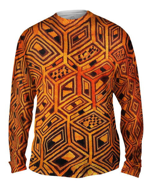 African Tribal Kuba Cloth Mens Long Sleeve