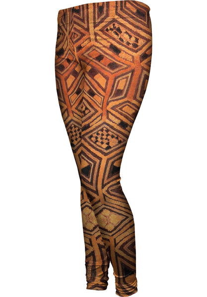 African Tribal Kuba Cloth Womens Leggings