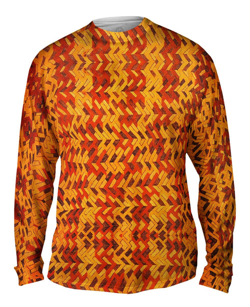 African Tribal Kuba Cloth Boomerang Mens Long Sleeve