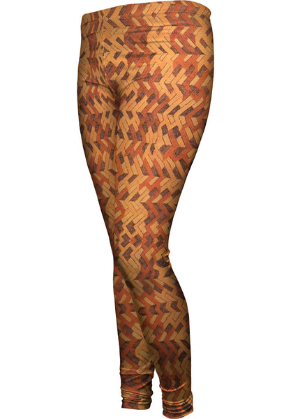 African Tribal Kuba Cloth Boomerang Womens Leggings