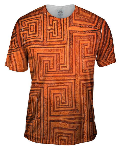 African Tribal Kuba Cloth Labyrinth Mens T-Shirt
