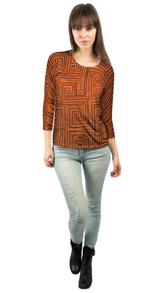 African Tribal Kuba Cloth Labyrinth Womens 3/4 Sleeve