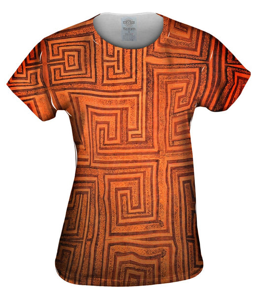 African Tribal Kuba Cloth Labyrinth Womens Top