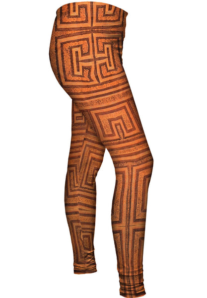 African Tribal Kuba Cloth Labyrinth Womens Leggings