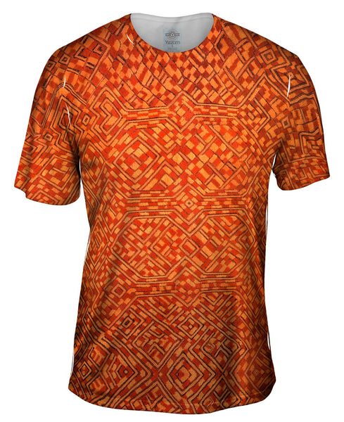 African Tribal Kuba Cloth Pattern Mens T-Shirt