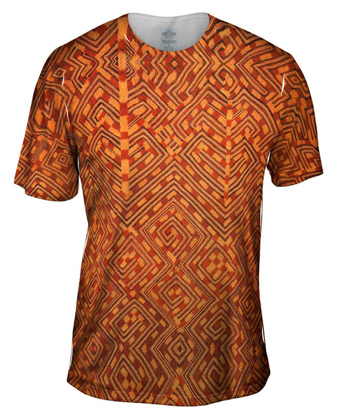African Tribal Kuba Cloth Snake Mens T-Shirt