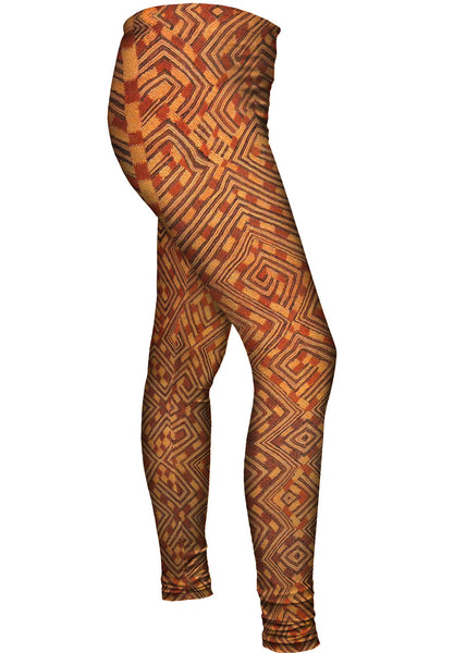 African Tribal Kuba Cloth Snake Womens Leggings