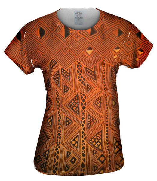 African Tribal Kuba Cloth Triangles Womens Top