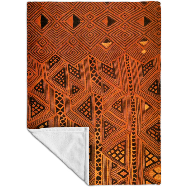 African Tribal Kuba Cloth Triangles Fleece Blanket