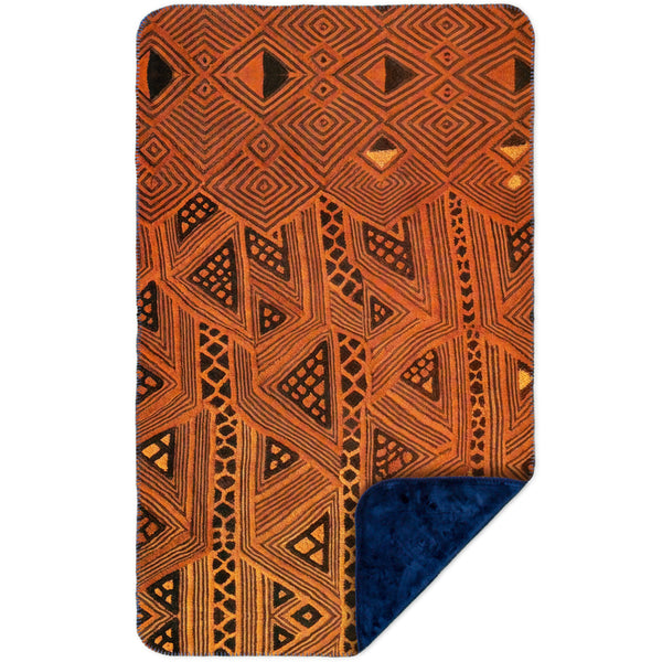 African Tribal Kuba Cloth Triangles MicroMink(Whip Stitched) Navy