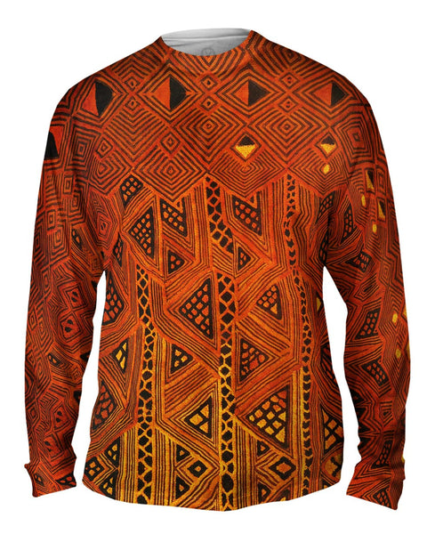 African Tribal Kuba Cloth Triangles Mens Long Sleeve