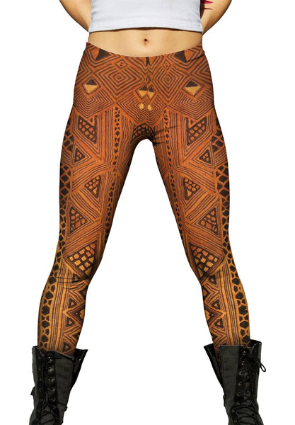 African Tribal Kuba Cloth Triangles Womens Leggings