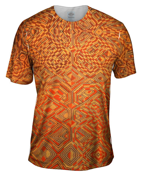 African Tribal Kuba Cloth Quadrant Mens T-Shirt