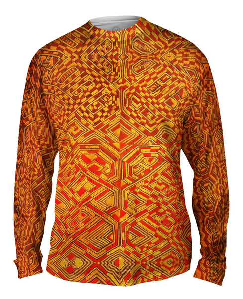 African Tribal Kuba Cloth Quadrant Mens Long Sleeve