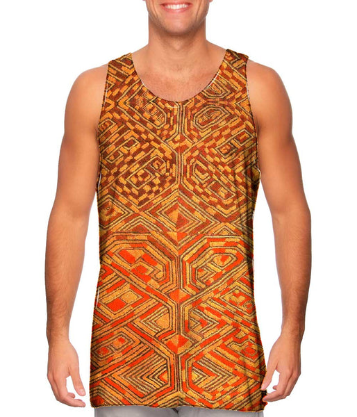 African Tribal Kuba Cloth Quadrant Mens Tank Top