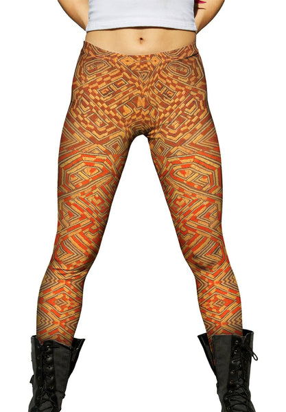 African Tribal Kuba Cloth Quadrant Womens Leggings