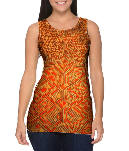 African Tribal Kuba Cloth Quadrant Womens Tank Top