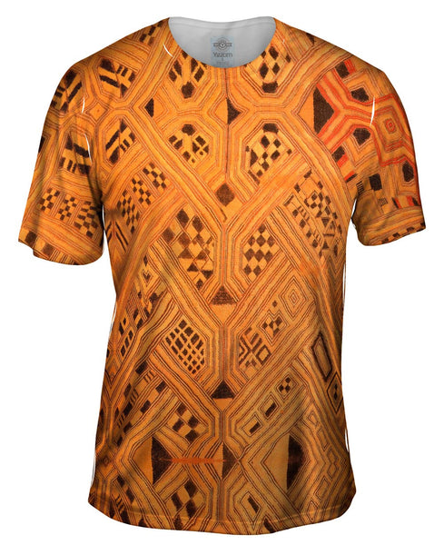 African Tribal Kuba Cloth Lattice Runway Mens T-Shirt