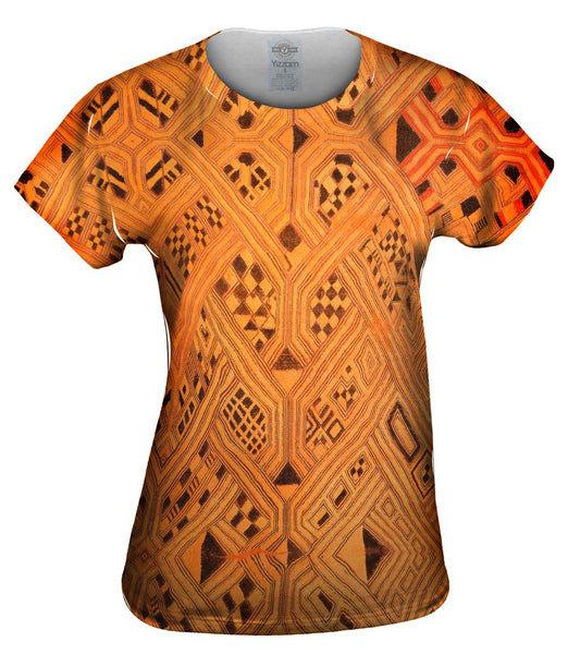 African Tribal Kuba Cloth Lattice Runway Womens Top