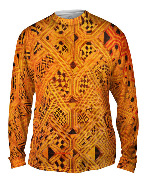 African Tribal Kuba Cloth Lattice Runway Mens Long Sleeve