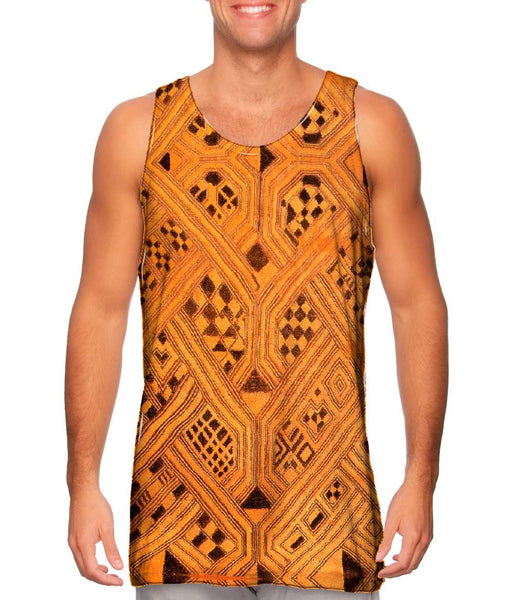 African Tribal Kuba Cloth Lattice Runway Mens Tank Top