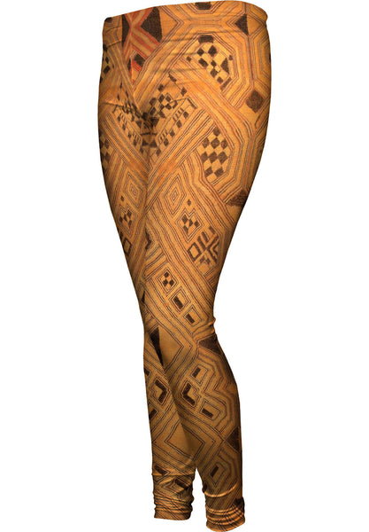 African Tribal Kuba Cloth Lattice Runway Womens Leggings