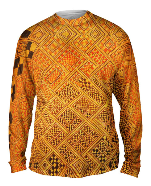 African Tribal Kuba Cloth Marriage Quilt Mens Long Sleeve