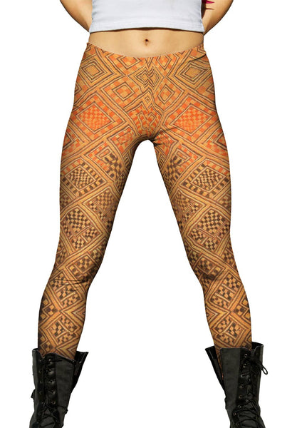 African Tribal Kuba Cloth Marriage Quilt Womens Leggings