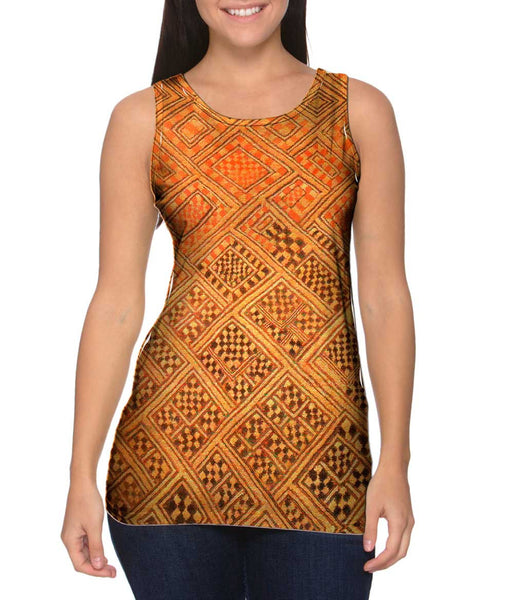 African Tribal Kuba Cloth Marriage Quilt Womens Tank Top