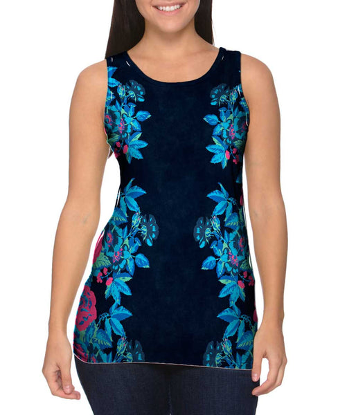 Floral Print Navy Womens Tank Top
