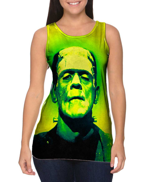 Popart Frankenstein Monster Yellow And Green Womens Tank Top