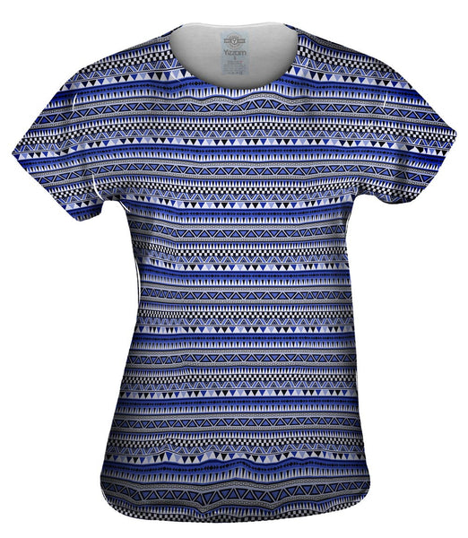 Tribal Blue Aztec Warrior Womens Top