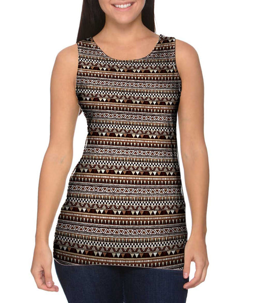 Tribal Brown Aztec Warrior Womens Tank Top